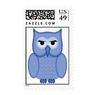 Cute Blue Owl Postage Stamps