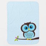 Cute Blue Owl Receiving Blankets
