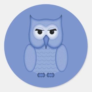Cute Blue Owl Round Stickers