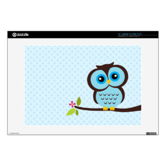 "Cute Blue Owl Decal For 13"" Laptop"