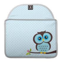Cute Blue Owl Sleeve For MacBook Pro