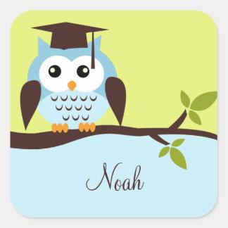 Cute Blue Owl Square Sticker