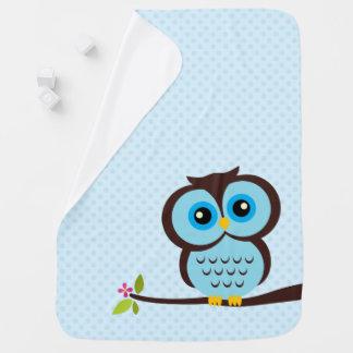 Cute Blue Owl Stroller Blanket