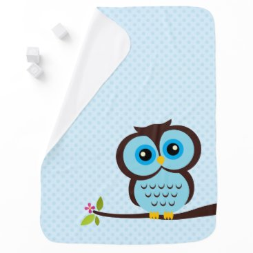 heartlocked Cute Blue Owl Stroller Blanket
