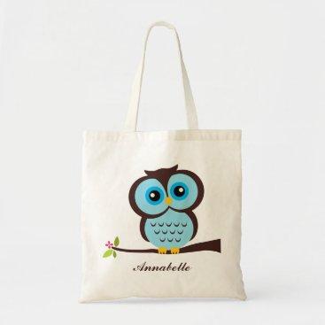 heartlocked Cute Blue Owl Tote Bag