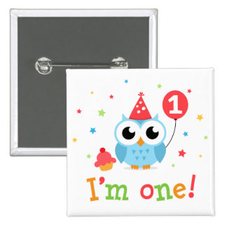 Cute blue owl with balloon and cupcake I am one Pinback Button