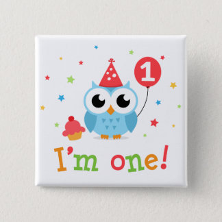 Cute, blue owl with balloon and cupcake I am one Pinback Button