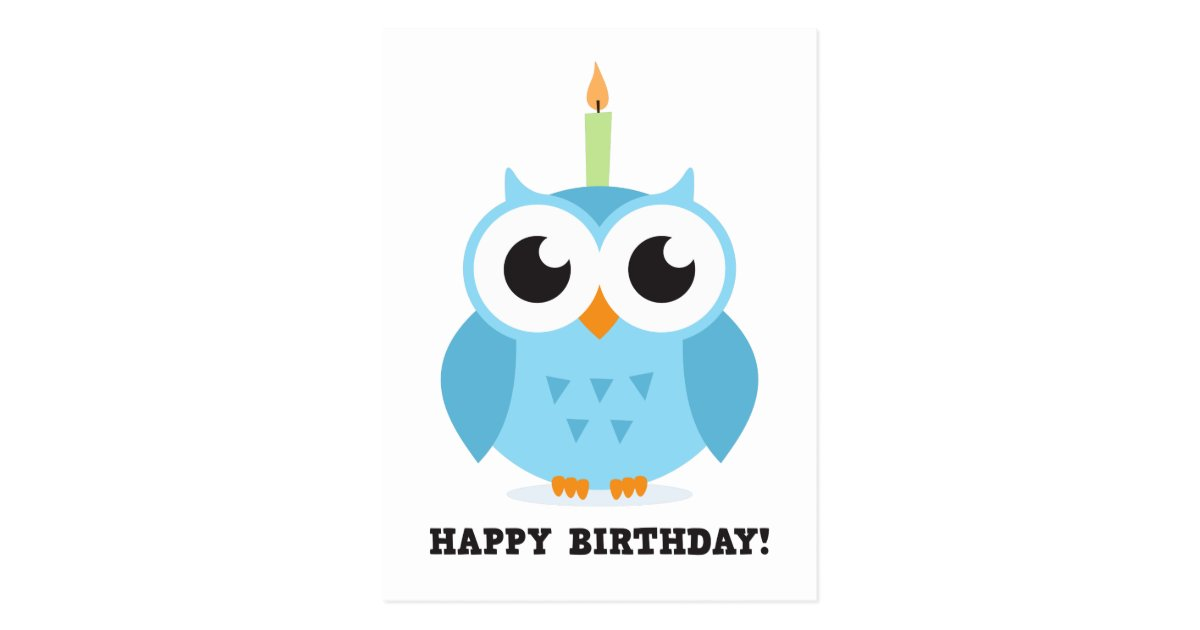 Cute Blue Owl With Candle Cartoon Happy Birthday Postcard