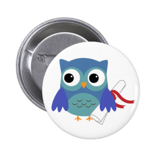 Cute Blue Owl with Diploma Graduation Button