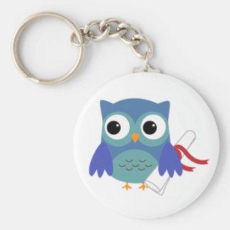 Cute Blue Owl with Diploma Graduation Keychain