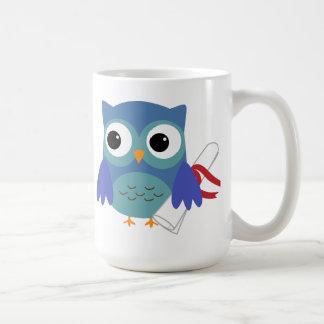 Cute Blue Owl with Diploma Graduation Mug