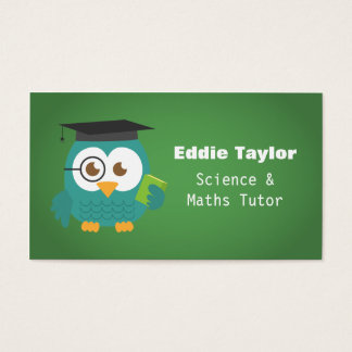 Cute Blue Owl with Graduation Hat, Personal Tutor Business Card