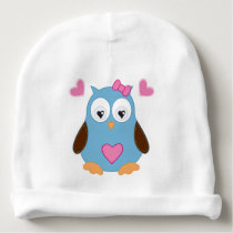 Cute Blue Owl with Pink Hearts Baby Beanie