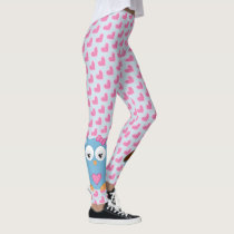 Cute Blue Owl with Pink Hearts Leggings