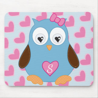 Cute Blue Owl with Pink Hearts Monogrammed Mouse Pad