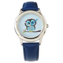 Cute Blue Owl Wrist Watch