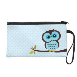Cute Blue Owl Wristlet