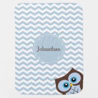 Cute Blue Owl Zigzag Pattern Custom Baby Blanket