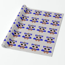 Cute Blue Owls Wrapping Paper