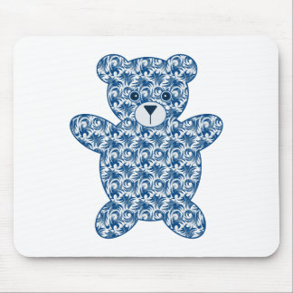 Cute Blue Patterned Teddy Bear Mouse Pad