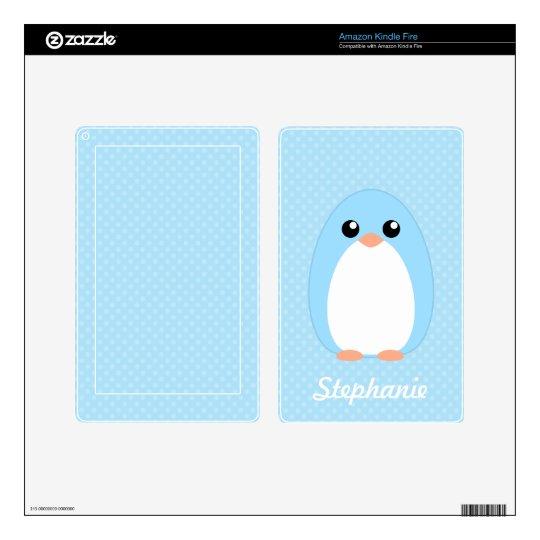 Cute Blue Penguin Kindle Fire Decals
