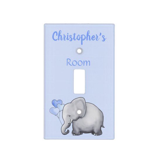 Cute Blue Personalized Elephant Baby Boy S Nursery Light Switch Cover