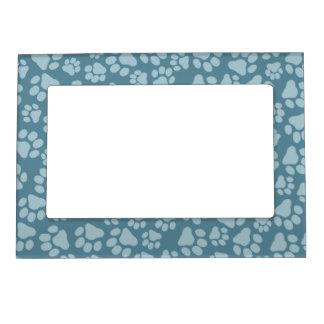 Cute Blue Pet Paw Prints Magnetic Frame
