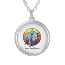 Cute Blue Pig Silver Plated Necklace