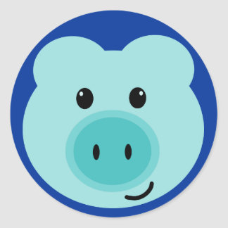Cute Blue Pig Stickers