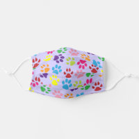 Cute Blue Pink Purple Dog Paws Cat Claws Pattern Cloth Face Mask