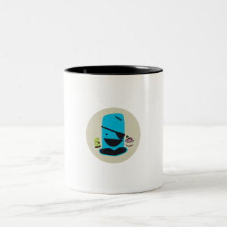 CUTE BLUE PIRATE MONTSTER WITH HIS MONSTER FRIENDS Two-Tone COFFEE MUG