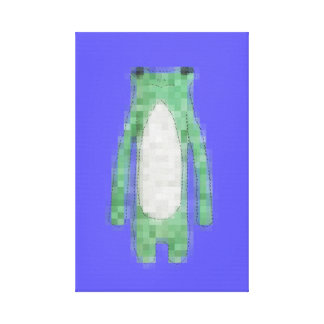 Cute Blue Pixel frog canvas for boys room Canvas Print