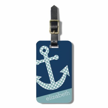 Cute Blue Polka Dot Anchor with Navy Custom Name Bag Tag