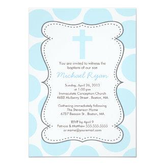 Cute Blue Polka Dots Cross Baptism Invitation