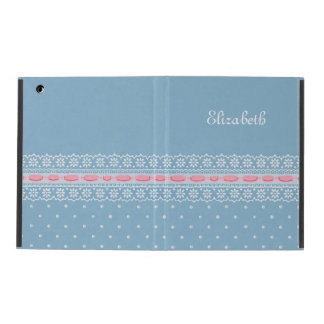 Cute Blue Polka Dots Girly Pink Lace With Name iPad Folio Cases