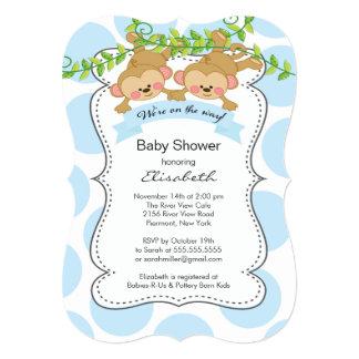 "Cute Blue Polka Dots Monkey Boys Baby Shower 5"" X 7"" Invitation Card"