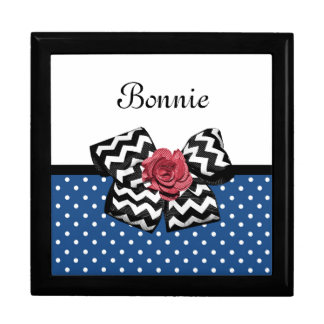 Cute Blue Polka Dots Red Rose Chevron Bow and Name Gift Box