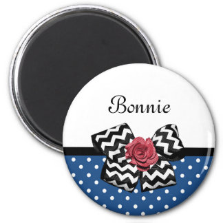 Cute Blue Polka Dots Red Rose Chevron Bow and Name 2 Inch Round Magnet