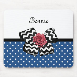 Cute Blue Polka Dots Red Rose Chevron Bow and Name Mouse Pad