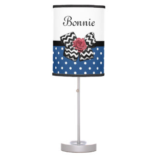 Cute Blue Polka Dots Red Rose Chevron Bow and Name Table Lamp