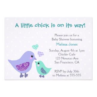 Cute Blue Purple Bird Baby Shower invitation