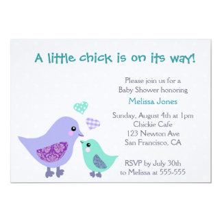 Cute Blue & Purple Bird Baby Shower invitation