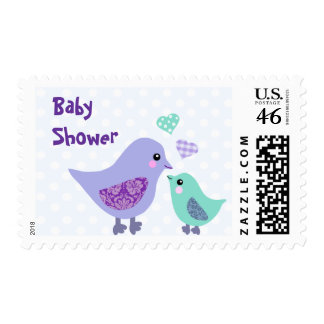 Cute Blue & Purple Bird Baby Shower stamps