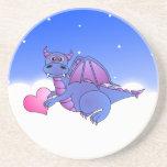 Cute Blue Purple Dragon Flying in Clouds w/ Heart Drink Coaster