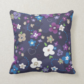 Cute blue purple flower retro pattern throw pillow