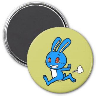 Cute blue rabbit running 3 inch round magnet
