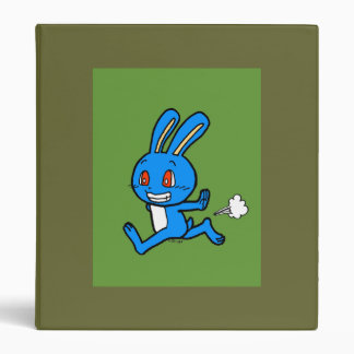 Cute blue rabbit running 3 ring binder