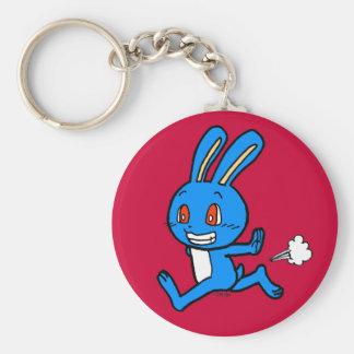 Cute blue rabbit running basic round button keychain