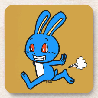 Cute blue rabbit running coaster