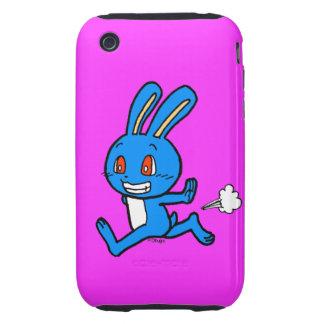 Cute blue rabbit running tough iPhone 3 case
